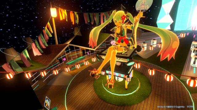 夏祭りの象徴で彩られたミクランドゲート前広場